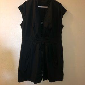 Kenneth Cole black Cotton dress, front zipper 16W